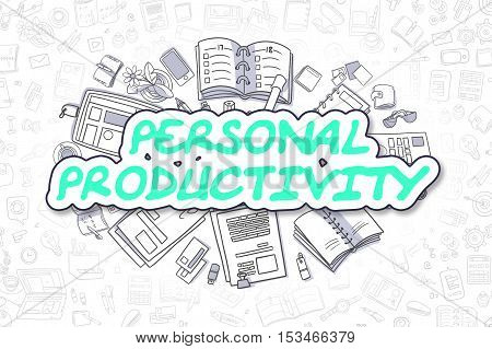 Green Word - Personal Productivity. Business Concept with Cartoon Icons. Personal Productivity - Hand Drawn Illustration for Web Banners and Printed Materials.