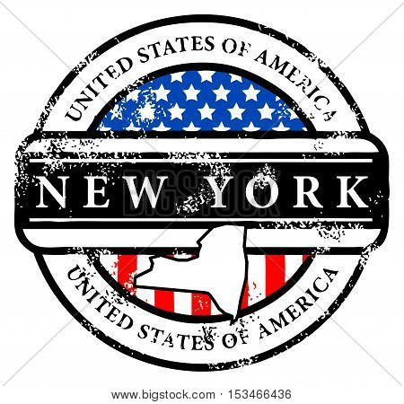 Grunge rubber stamp with name of New York, vector illustration