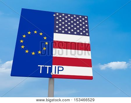 TTIP: USA And EU Flag Road Sign Against A Cloudy Sky 3d illustration