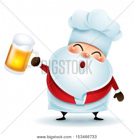 Chef Santa Claus with beer