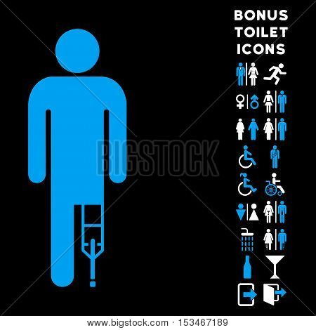 Patient Man icon and bonus male and woman restroom symbols. Vector illustration style is flat iconic bicolor symbols, blue and white colors, black background.