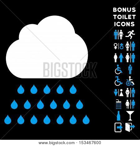 Rain Cloud icon and bonus male and lady restroom symbols. Vector illustration style is flat iconic bicolor symbols, blue and white colors, black background.