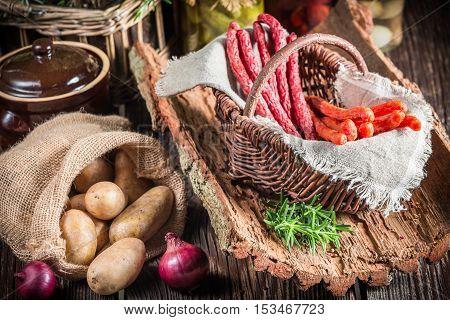 Closeup Of Fresh Kabanos Sausages In Basket