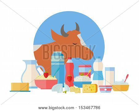 Traditional dairy products from cow milk. Different dairy products on background of cow. Natural farm food concept. Assortment of dairy products. Vector illustration in flat style.
