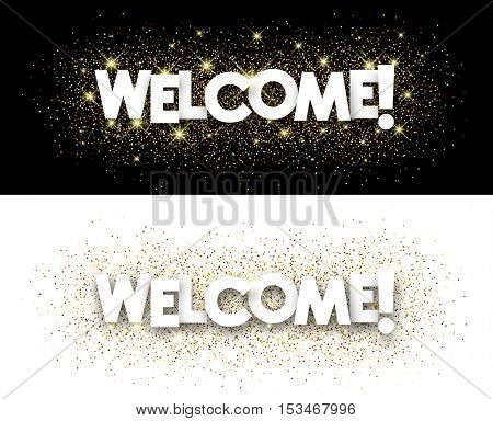 Welcome paper banners set with shining sand. Vector illustration.