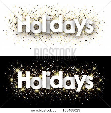 Holidays paper banners set with shining sand. Vector illustration.