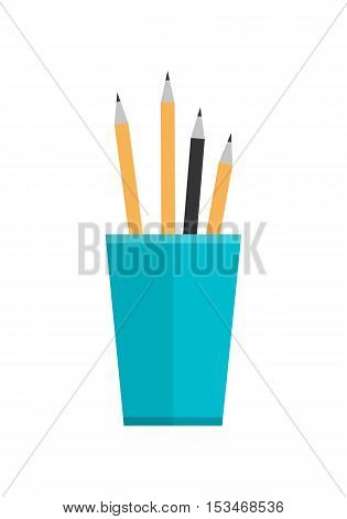 Blue glass with pencils. Stack of colored pencils in a glass. Plastic pencil holder, pen holder. Isolated object on white background. Vector illustration in flat style.