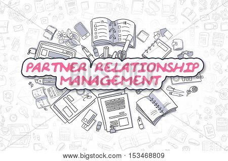 Doodle Illustration of Partner Relationship Management, Surrounded by Stationery. Business Concept for Web Banners, Printed Materials.