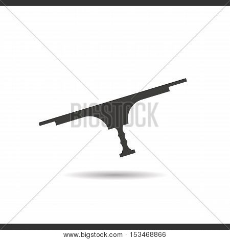 Tool for window cleaning icon. Drop shadow silhouette symbol. Negative space. Vector isolated illustration