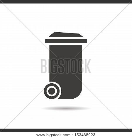 Trash can icon. Drop shadow silhouette symbol. Negative space. Vector isolated illustration