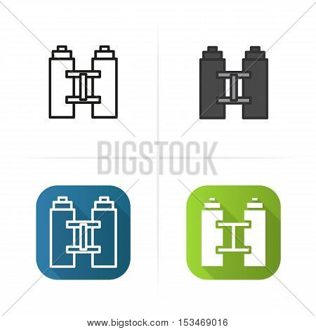 Binoculars icon. Flat design, linear and color styles. Isolated vector illustrations