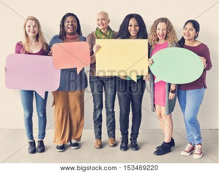 Girls Friendship Togetherness Copy Space Speech Bubble Concept
