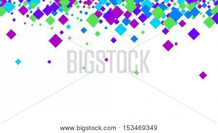 White abstract background with colour rhombs. Vector paper illustration.