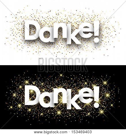 Thanks paper banner with shining sand, German. Vector illustration.