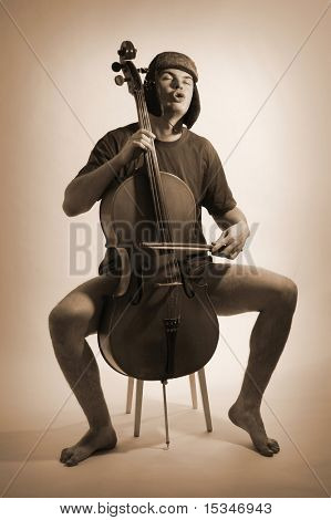 Funny cello player