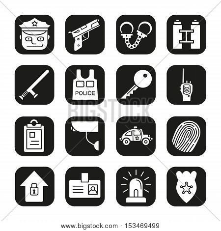 Police and security icons set. Vector white silhouettes illustrations in black squares.