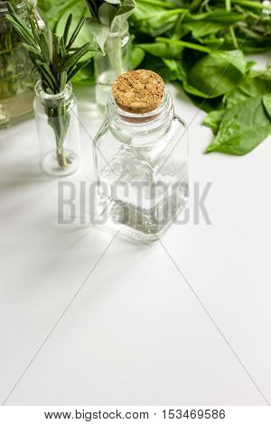 mint, sage, rosemary, thyme - aromatherapy white background close up