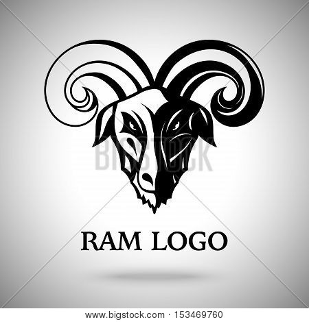 Vector dark ram goat head with horns, template for logo, badge, label etc.