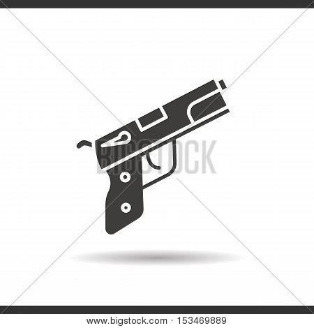 Gun icon. Drop shadow silhouette symbol. Negative space. Vector isolated illustration