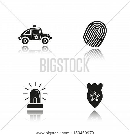 Police drop shadow black icons set. Car, fingerprint, flasher, badge symbol. Isolated vector illustrations
