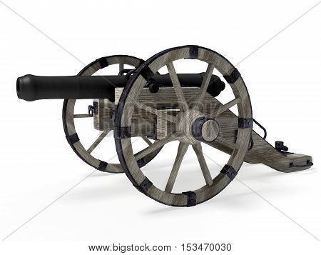 old cannon isolated on white background 3D