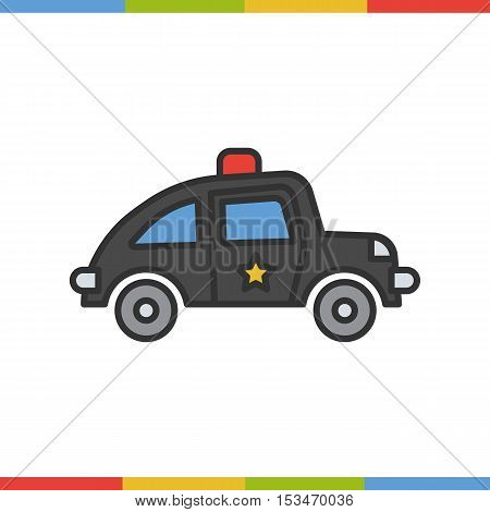 Police car color icon. Grey and red. Isolated vector illustration