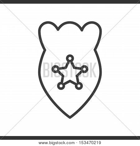 Police badge linear icon. Thin line illustration. Vector isolated outline drawing