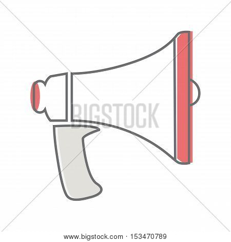 Loud speaker isolated on white. Video marketing. Approaches, methods and measures to promote products and services based on video. Online video, internet technology and media social marketing