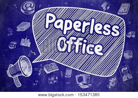 Yelling Loudspeaker with Wording Paperless Office on Speech Bubble. Cartoon Illustration. Business Concept.