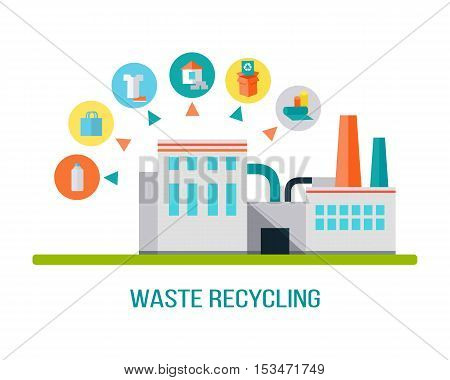 Factory building with pipes in flat. Waste recycling. Industrial factory building concept. Industrial plant with pipes. Factory icon. Isolated object in flat design on white background.