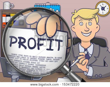 Businessman in Office Workplace Shows Paper with Inscription Profit. Closeup View through Magnifier. Multicolor Modern Line Illustration in Doodle Style.