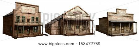 Three historical wild west buildings 3D illustration