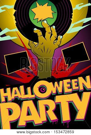 Halloween party design mock up with zombie hand holding vinyl, comic style poster concept, empty speech bubbles with copy space for text