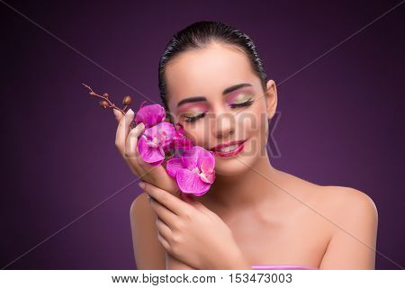 Beautiful woman in make up concept