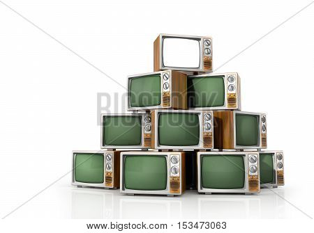 TV concept. Turn on TV on the vertex of heap of turn off vintage TV isolated on a white. 3d illustration
