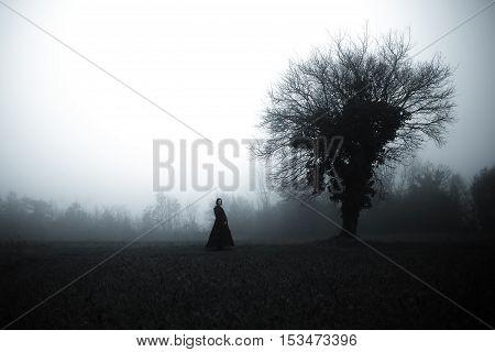 Horror Scene of a Scary Woman in Black Dress