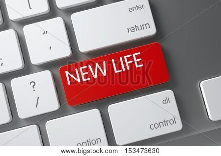 New Life Concept: Modernized Keyboard with New Life, Selected Focus on Red Enter Key. 3D Illustration.