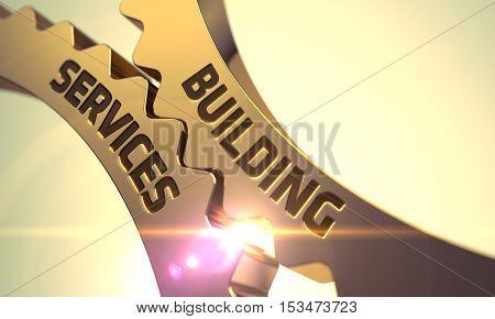 Building Services on the Golden Metallic Cog Gears. 3D.
