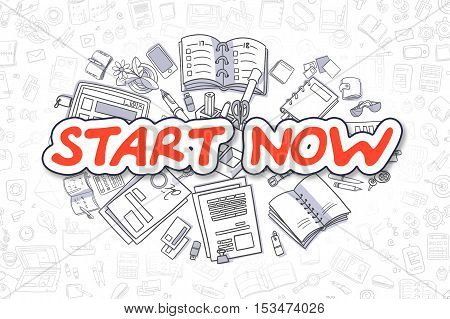 Business Illustration of Start Now. Doodle Red Text Hand Drawn Doodle Design Elements. Start Now Concept.