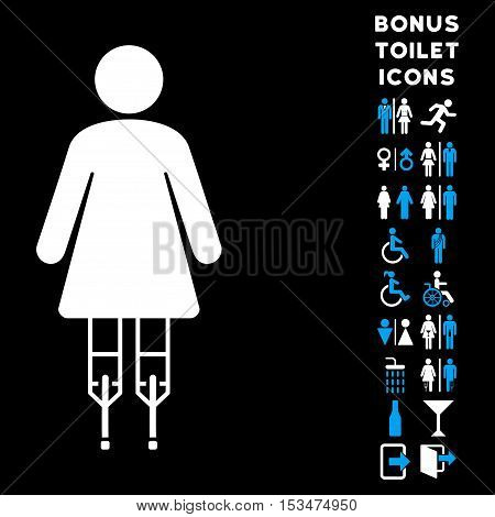 Woman Crutches icon and bonus gentleman and woman restroom symbols. Vector illustration style is flat iconic bicolor symbols, blue and white colors, black background.