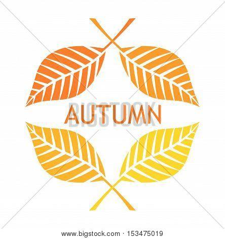 Autumn leaves border. Flat design simple illustration