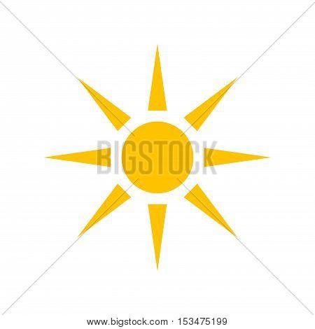 Sun  flat design simple orange icon illustration