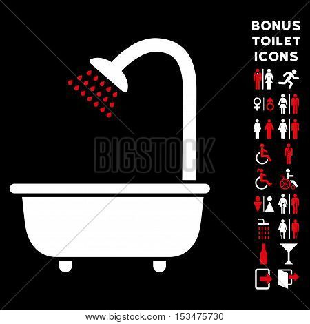 Bath Shower icon and bonus man and woman lavatory symbols. Vector illustration style is flat iconic bicolor symbols, red and white colors, black background.