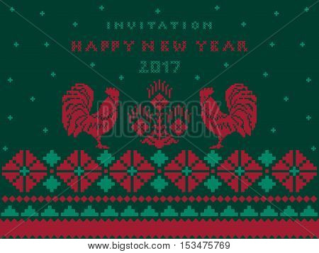 invitation card Happy New Year with pattern cross stitch on dark green background  - vector