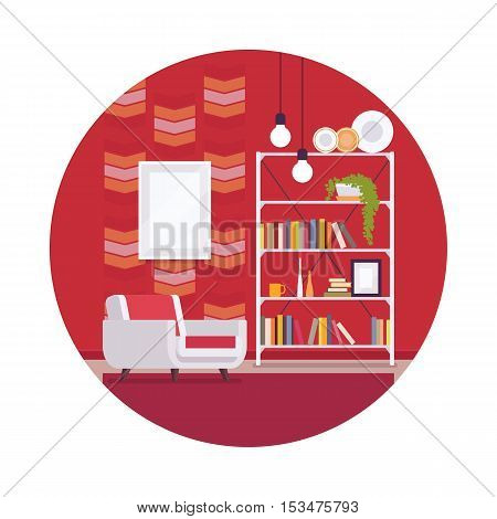 Retro interior with red walls, white armchair in a circle. Cartoon vector flat-style interior illustration, copy space for text or picture in the frame