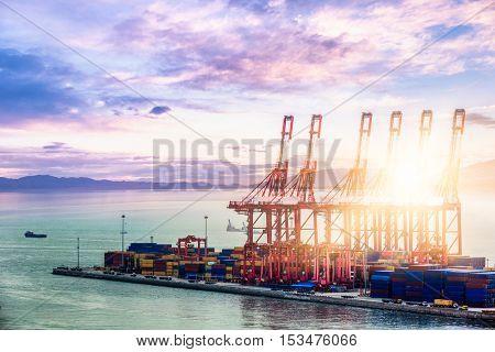 industrial port at dawn,shanghai,china.