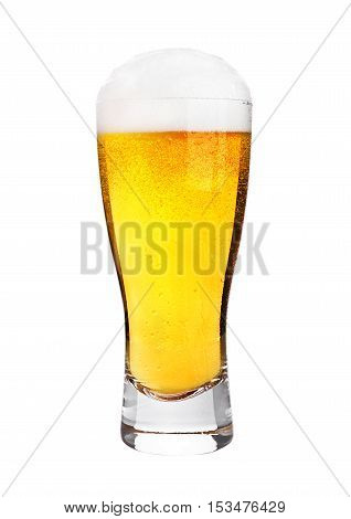 Glass of beer with frost isolated on white background