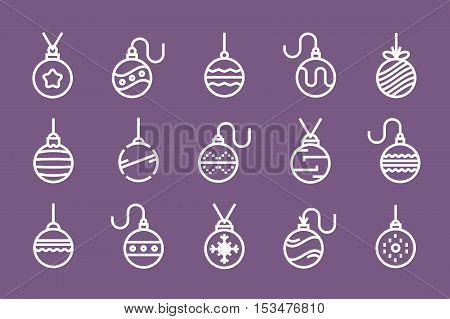 Set of outline Christmas balls. vector illustration