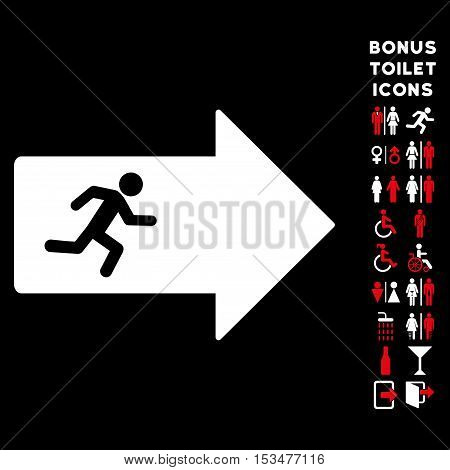 Exit Arrow icon and bonus man and lady lavatory symbols. Vector illustration style is flat iconic bicolor symbols, red and white colors, black background.