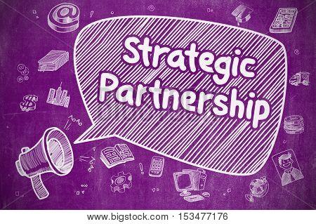 Speech Bubble with Text Strategic Partnership Doodle. Illustration on Purple Chalkboard. Advertising Concept.
